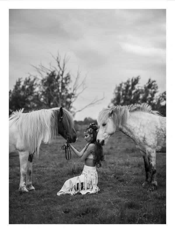 FRIHET   POSTER   Häst och kvinna i öppet landskap