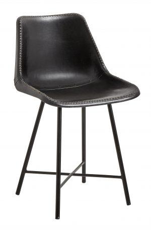 KÖP STILEN - INDUSTRI - Svart läderstol med järnben